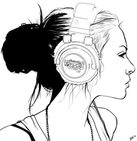 Headphone Punk lineart by FoxVanity
