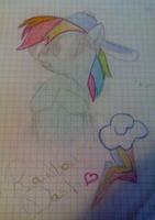 My Drawing of Rainbow Dash by funyan-lineart