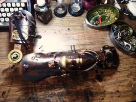 Steampunk arm in workshop by LeifArmordson