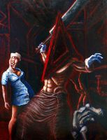 Pyramid Head Oil Painting by poopbear