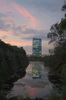 Modernity Reflected In A Moat by miharashi