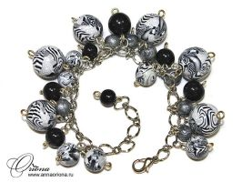 Black and white bracelet by OrionaJewelry