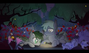Nightlight, Pokey and Rosewood in the garden by VectorVito