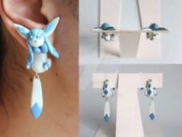 Glaceon Eeveelution Earrings by ArtzieRush