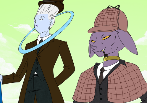 Beerus Holmes and Dr. Whis by harundoener