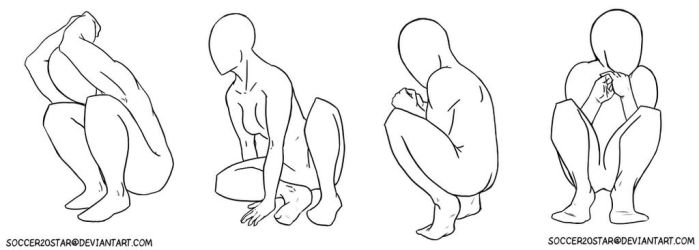 Sketch Set 3 Crouching by CourtneysConcepts
