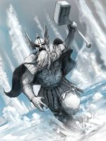 Thor sketch (colour rough) by m0zch0ps