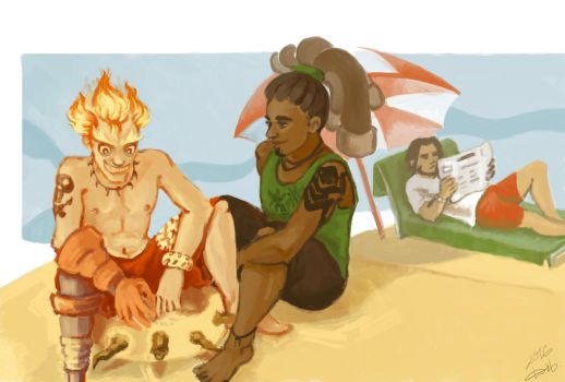 Junkrat, McCree and Lucio on weekend by Dietrich-occta