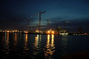 Shipyard at Night by DonLeo85