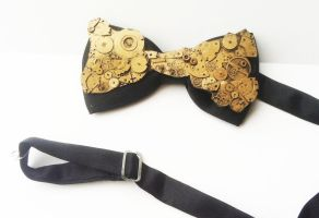 Steampunk Clockwork bow tie by richardsymonsart