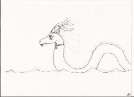 Water Dragon Sketch by FumeSpitter