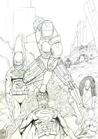 Ironman vs JLA by LewisTillett