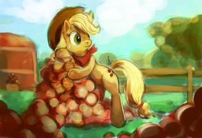 MLP 5: Applejack sketch by The-Keyblade-Pony