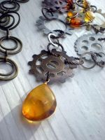 Amber Steampunk Necklace by rowan300