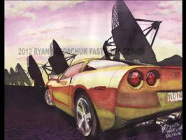 Yellow Fever (2008 Corvette In New Mexico) by FastLaneIllustration