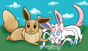 Eevee and Sylveon by KeLou