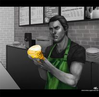 -Starbucks AU- by obsceneblue