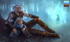 Palette 8: Geralt and Tsirilla in Brokilon by alenaswan