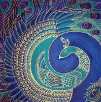 Square Peacock Painting by ChaoticatCreations