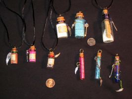 Bottled Happiness Charms by lady-cybercat