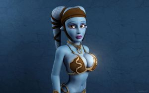 Aayla Secura in metal bikini by nemecsekerno