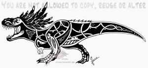 Feathered tribal T-Rex - celtic by Arixona
