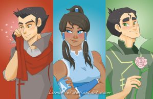 Fanart - Korra's Love Triad by LunaMiel