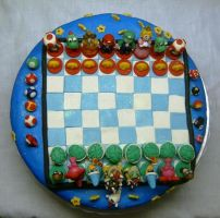 Super mario - chess-  cake1 by anafuji