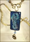 Deep ocean dragon - stone painting necklace by AlviaAlcedo