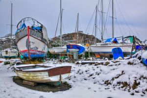 Uphill boat yard in the snow by Vitaloverdose