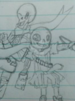 WIP- Ink Sans and Papyrus by Moonlight1328