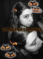 Orange Cat Hairpin by Piripanda