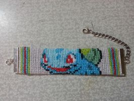 Bulbasaur bracelet - cross stitch by Nancy171112