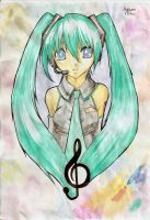 Watercolored Miku by Maiiyu