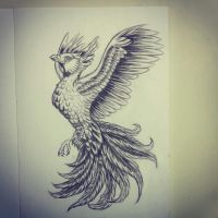 phoenix drawing by QTattoo