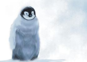 Emperor penguin chick by VentriloquistBeast