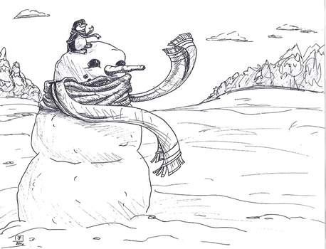 Snowman and Penguin Sketch by Justturtle