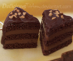 Walnut Topped Chocolate Cake Charms by DeliciousTrickery
