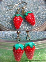 Strawberry Earrings Detail by Shelby-JoJewelry