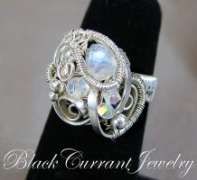Moonstone Ring with flat wire by blackcurrantjewelry