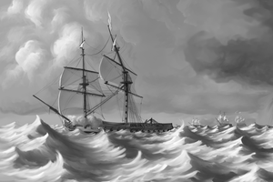 Painting Detail - Frigate by Amarynceus