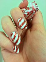Candy Cane Nail Art by lulutetium