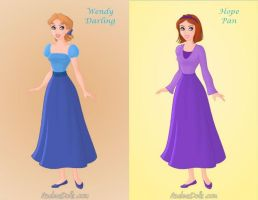 Wendy Darling and Hope Pan by KendraKickz0220