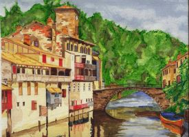 Watercolour - Some french town by Sedjin