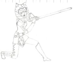 aqhsoka tano in action line art by XLR8OR1344