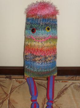 Flossy, a Loom Knitted Monster by Kate-ColourTheory