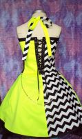 Neon yellow dress back view by Alien-Phant