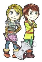 Hiccup and Astrid by miriamartist