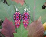 Red and Purple Macrame Earrings by borysbrytva
