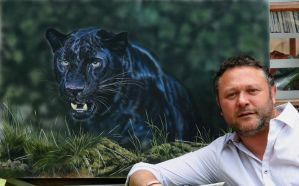 me and Panther painting by hunterpaul